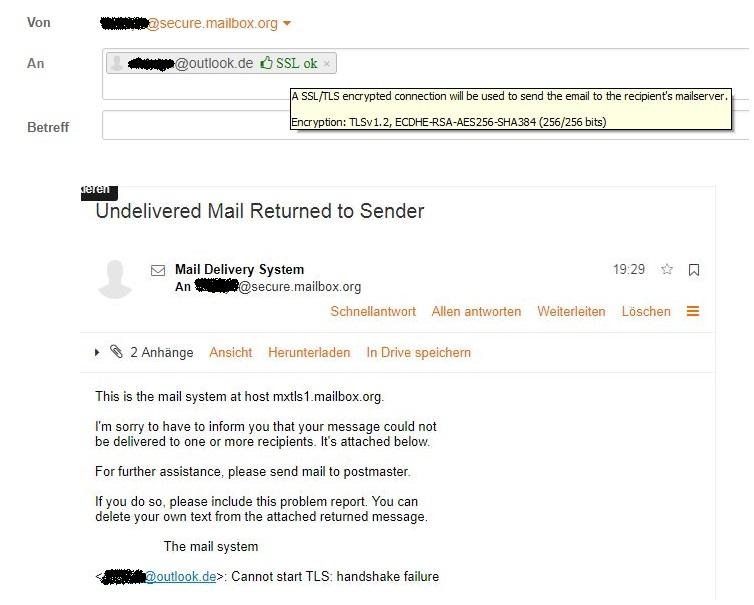 verschlüsselte Mail an outlook.de